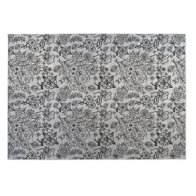 Gray/Black Indoor/Outdoor Doormat Rug Size: 5 x 7