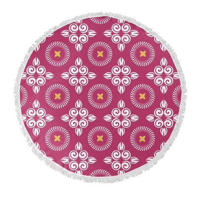 Scrolled Floral Round Beach Towel