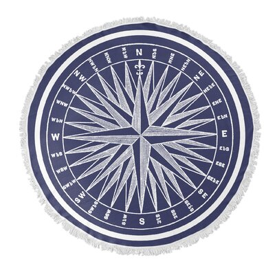 Nautical Compass Round Beach Towel