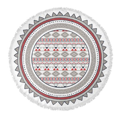 Tribal Tango Round Beach Towel Color: Red