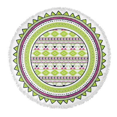 Tribal Tango Round Beach Towel Color: Lime
