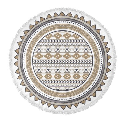 Tribal Tango Round Beach Towel Color: Tan