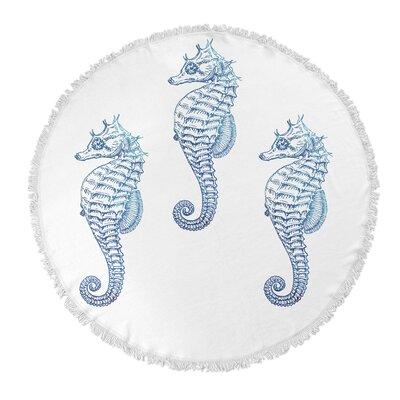 3 Seahorse Round Beach Towel