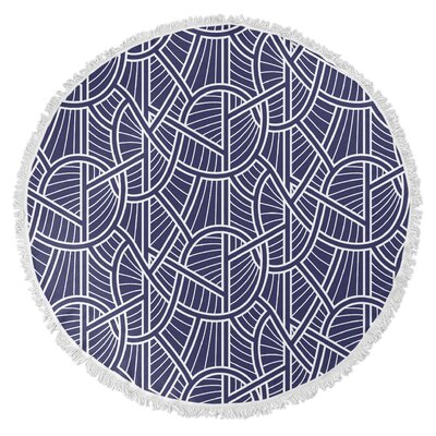 Geo Vines Round Beach Towel