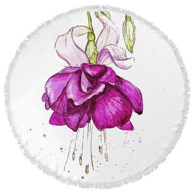 Draping Flower Round Beach Towel