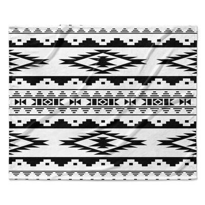 Cheroke Fleece Throw Blanket Color: Black / White, Size: 30 W x 40 L