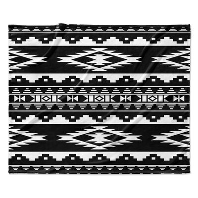 Cheroke Fleece Throw Blanket Color: Black, Size: 50 W x 60 L