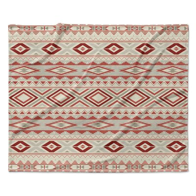 Navajo Fleece Throw Blanket Color: Tan, Size: 60 W x 80 L