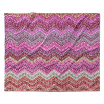Pink Chevron Fleece Throw Blanket Size: 60 W x 80 L