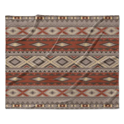 Navajo Fleece Throw Blanket Color: Black, Size: 50 W x 60 L