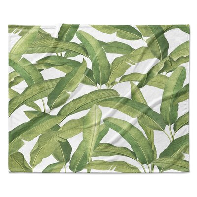 Pallavi Banana Leaves Fleece Throw Blanket Size: 60 W x 80 L