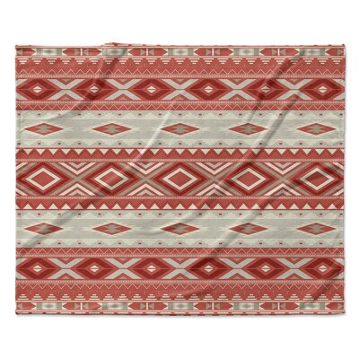 Navajo Fleece Throw Blanket Color: Red, Size: 30 W x 40 L