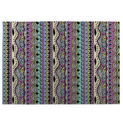 Color Dance Purple Indoor/Outdoor Doormat Rug Size: 4 x 5
