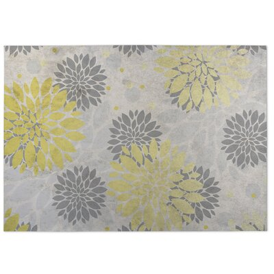 Bloom Yellow/Gray/Beige Indoor/Outdoor Doormat Rug Size: Square 8