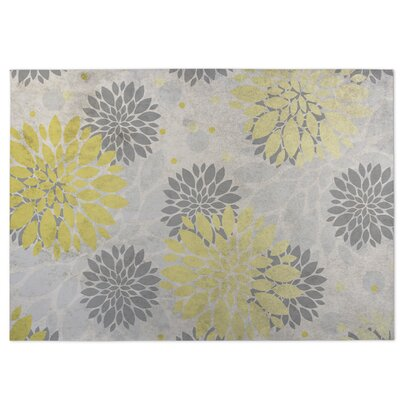 Bloom Yellow/Gray/Beige Indoor/Outdoor Doormat Rug Size: 5 x 7