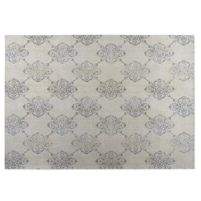 Old Damask Beige/Gray Indoor/Outdoor Doormat Rug Size: 4 x 5