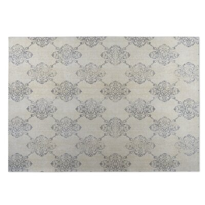 Old Damask Beige/Gray Indoor/Outdoor Doormat Rug Size: Rectangle 5 x 7