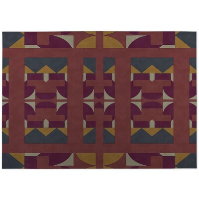Deco Indoor/Outdoor Doormat Color: Red/ Gold/ Purple
