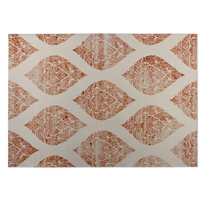 Fortney Damasks Indoor/Outdoor Doormat Color: Ivory/ Orange