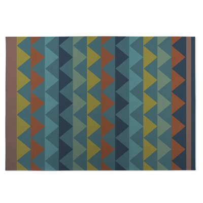 White Caps Indoor/Outdoor Doormat Color: Blue/ Yellow/ Orange