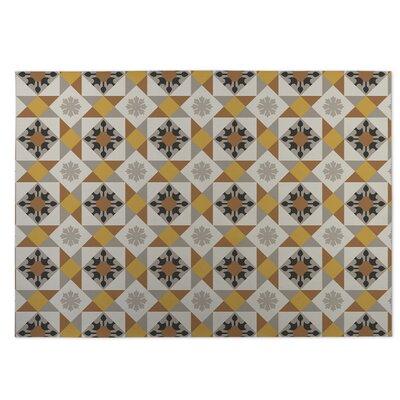Diamond Tiles Indoor/Outdoor Doormat Color: Gray/Yellow