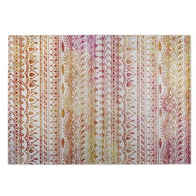 Feathers Indoor/Outdoor Doormat Color: Orange/Red