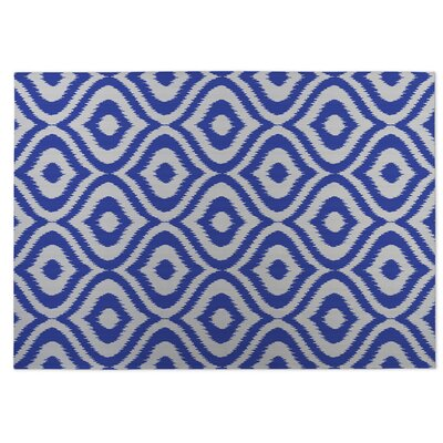 Ikat Ogee Indoor/Outdoor Doormat Color: Blue/ Ivory