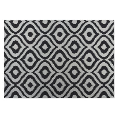 Ikat Ogee Indoor/Outdoor Doormat Color: Black/ Ivory
