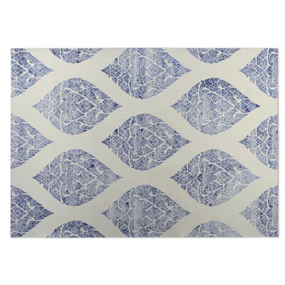 Fortney Damasks Indoor/Outdoor Doormat Color: Ivory/ Blue