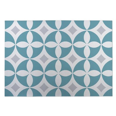 Circled Lily Indoor/Outdoor Doormat Color: Blue/ Grey