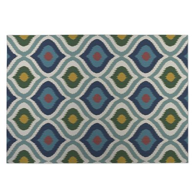 Ikat Ogee Indoor/Outdoor Doormat Color: Blue/Green