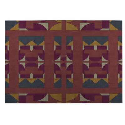 Yellow/Red Indoor/Outdoor Doormat Rug Size: Square 8