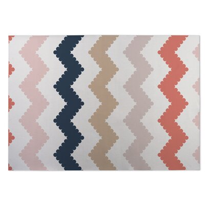 Play Chevron Indoor/Outdoor Doormat Color: Ivory/ Tan/ Blue/ Pink