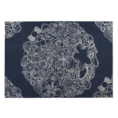 Adorned Blue Indoor/Outdoor Doormat Rug Size: 5 x 7