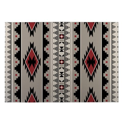 Gray/Red Indoor/Outdoor Doormat Mat Size: Rectangle 4 x 5