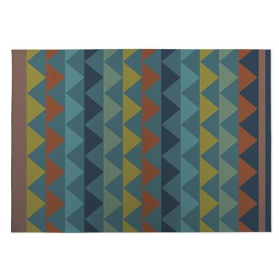 White Caps Orange/BlueYellow Indoor/Outdoor Doormat Rug Size: 4 x 5
