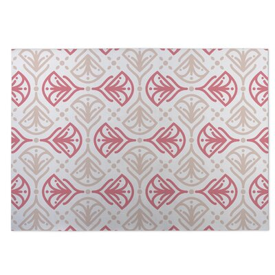 Kissing Tulips Pink/Beige Indoor/Outdoor Doormat Rug Size: Square 8