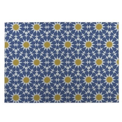 Sun Burst Blue Indoor/Outdoor Doormat Rug Size: 5 x 7