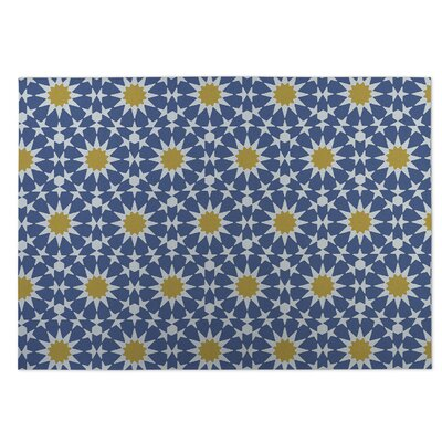 Sun Burst Blue Indoor/Outdoor Doormat Rug Size: Square 8