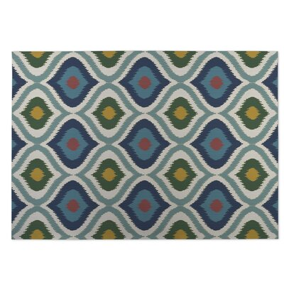 Blue/Green Indoor/Outdoor Doormat Rug Size: Square 8