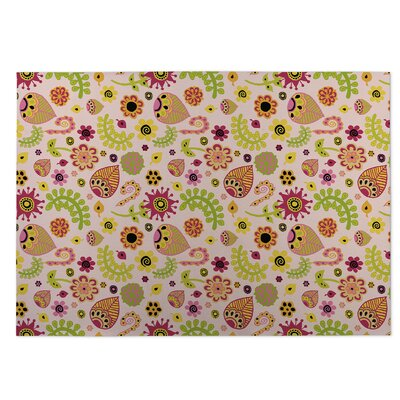 Playland Pink/Green Indoor/Outdoor Doormat Mat Size: Rectangle 5 x 7