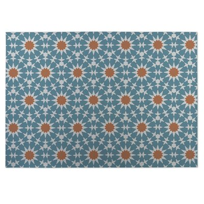 Blue/Orange Indoor/Outdoor Doormat Rug Size: 5 x 7