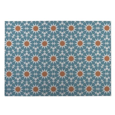 Sun Burst Indoor/Outdoor Doormat Color: Blue/ Orange