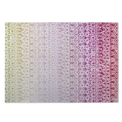 Backyard Lights Pink/Green Indoor/Outdoor Doormat Rug Size: 5 x 7