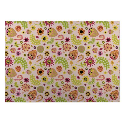 Playland Pink/Green Indoor/Outdoor Doormat Rug Size: Rectangle 4 x 5