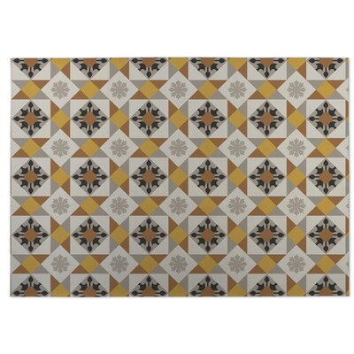 Gray/Yellow Indoor/Outdoor Doormat Rug Size: 8 x 10