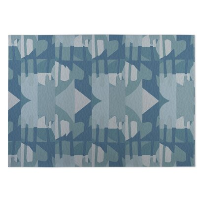 Fragments Blue Indoor/Outdoor Doormat Rug Size: Square 8