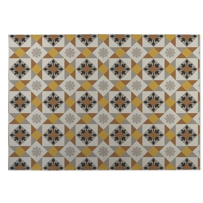 Gray/Yellow Indoor/Outdoor Doormat Rug Size: Square 8