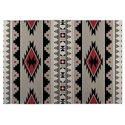Gray/Red Indoor/Outdoor Doormat Rug Size: 8 x 10