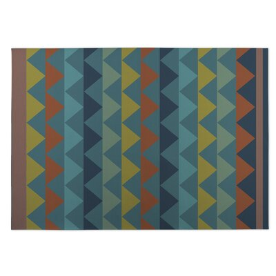White Caps Orange/BlueYellow Indoor/Outdoor Doormat Rug Size: 8 x 10